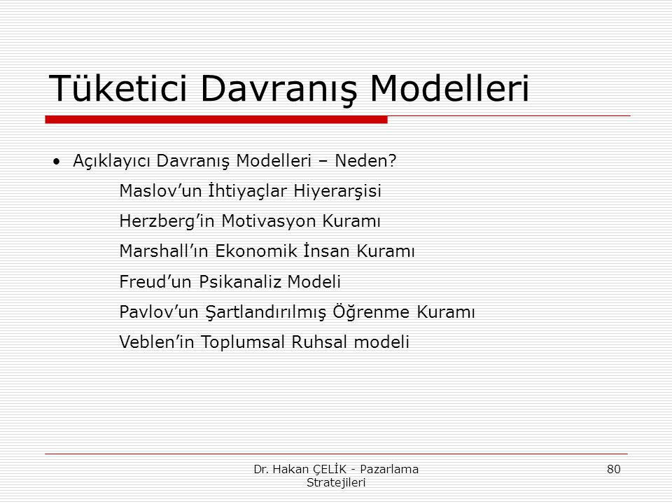 Tüketici Davranış Modelleri
