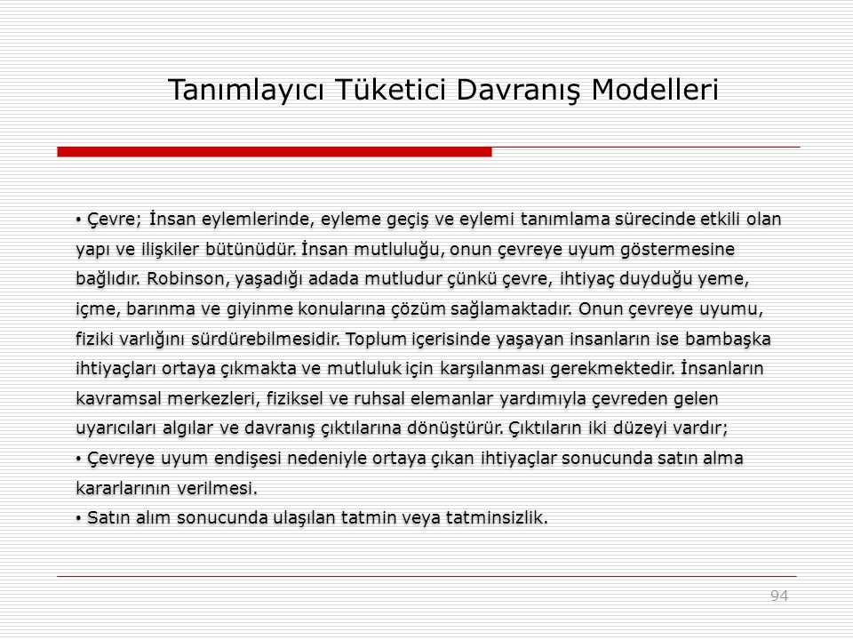 Tanımlayıcı Tüketici Davranış Modelleri