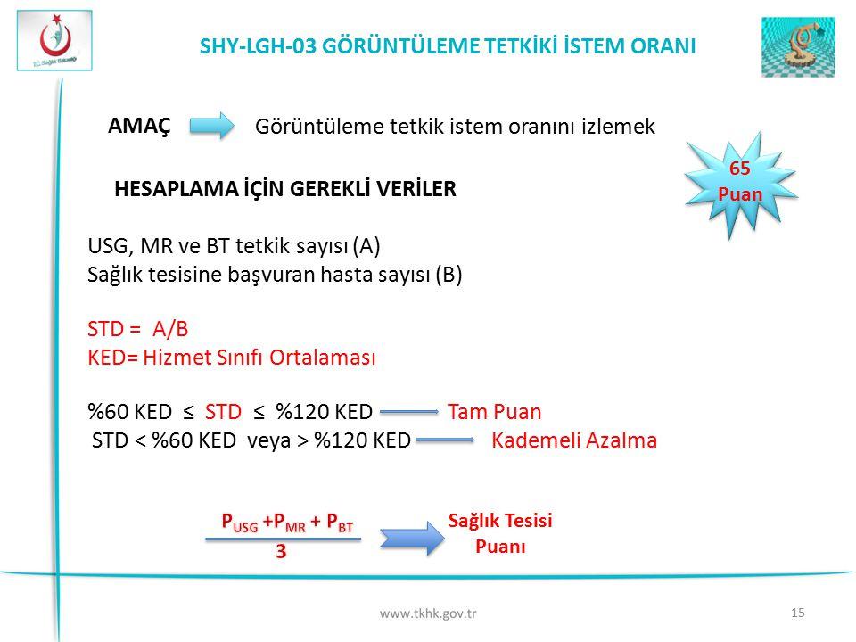 SHY-LGH-03 GÖRÜNTÜLEME TETKİKİ İSTEM ORANI