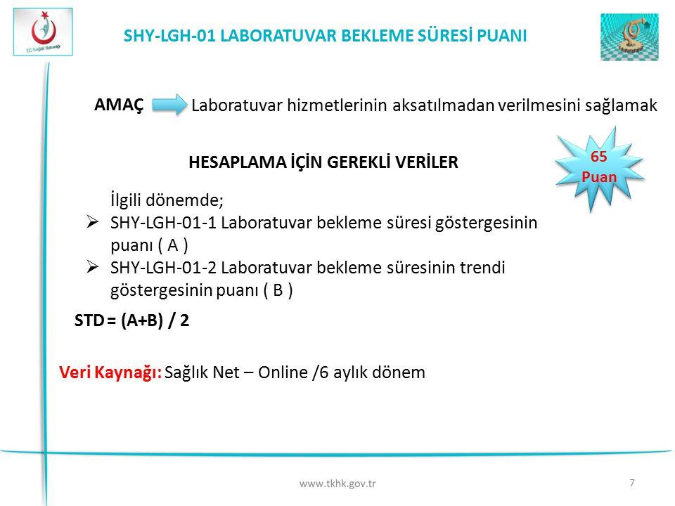 SHY-LGH-01 LABORATUVAR BEKLEME SÜRESİ PUANI