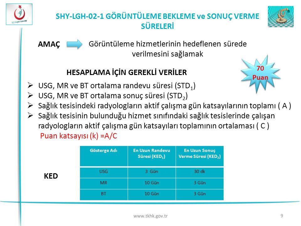 SHY-LGH-02-1 GÖRÜNTÜLEME BEKLEME ve SONUÇ VERME SÜRELERİ