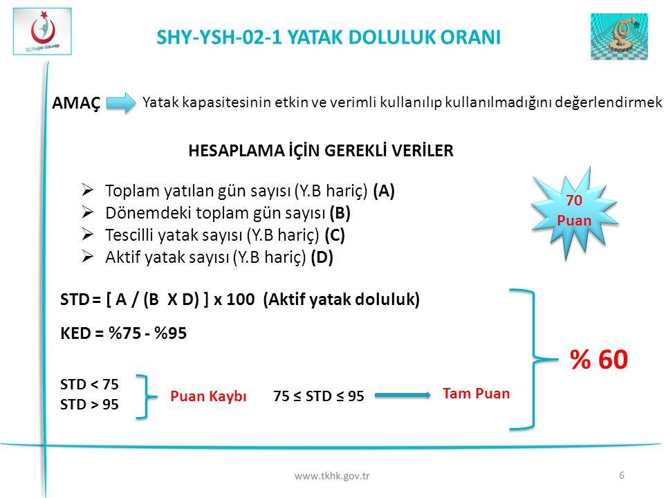 % 60 SHY-YSH-02-1 YATAK DOLULUK ORANI AMAÇ