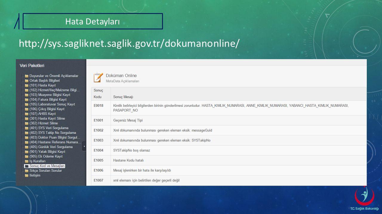 Hata Detayları http://sys.sagliknet.saglik.gov.tr/dokumanonline/