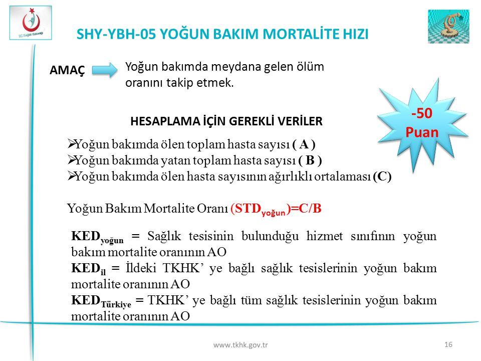 SHY-YBH-05 YOĞUN BAKIM MORTALİTE HIZI