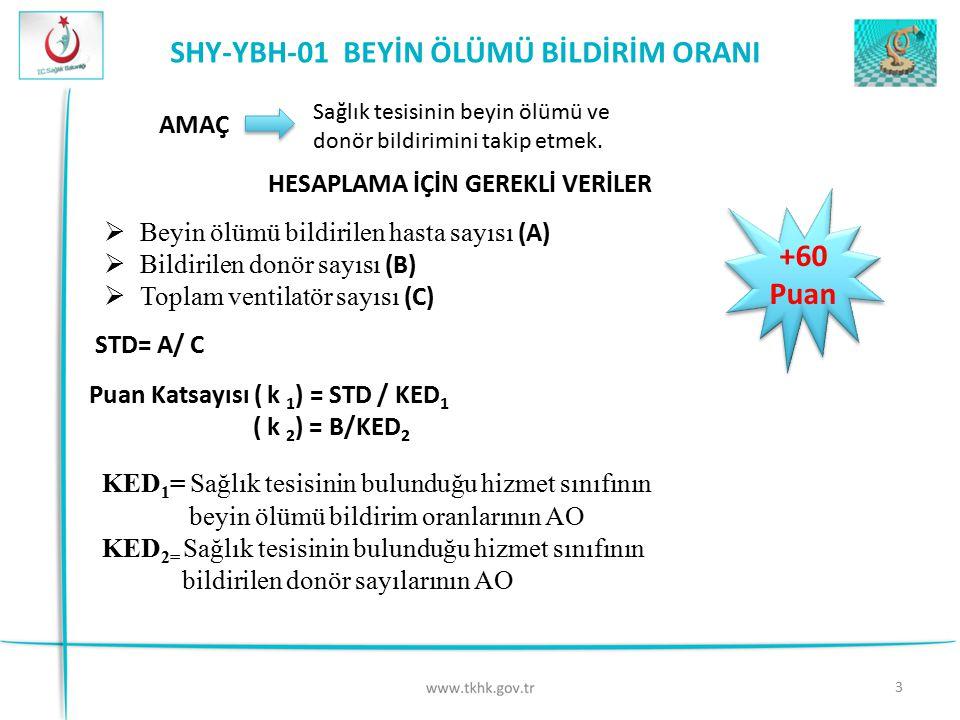 SHY-YBH-01 BEYİN ÖLÜMÜ BİLDİRİM ORANI