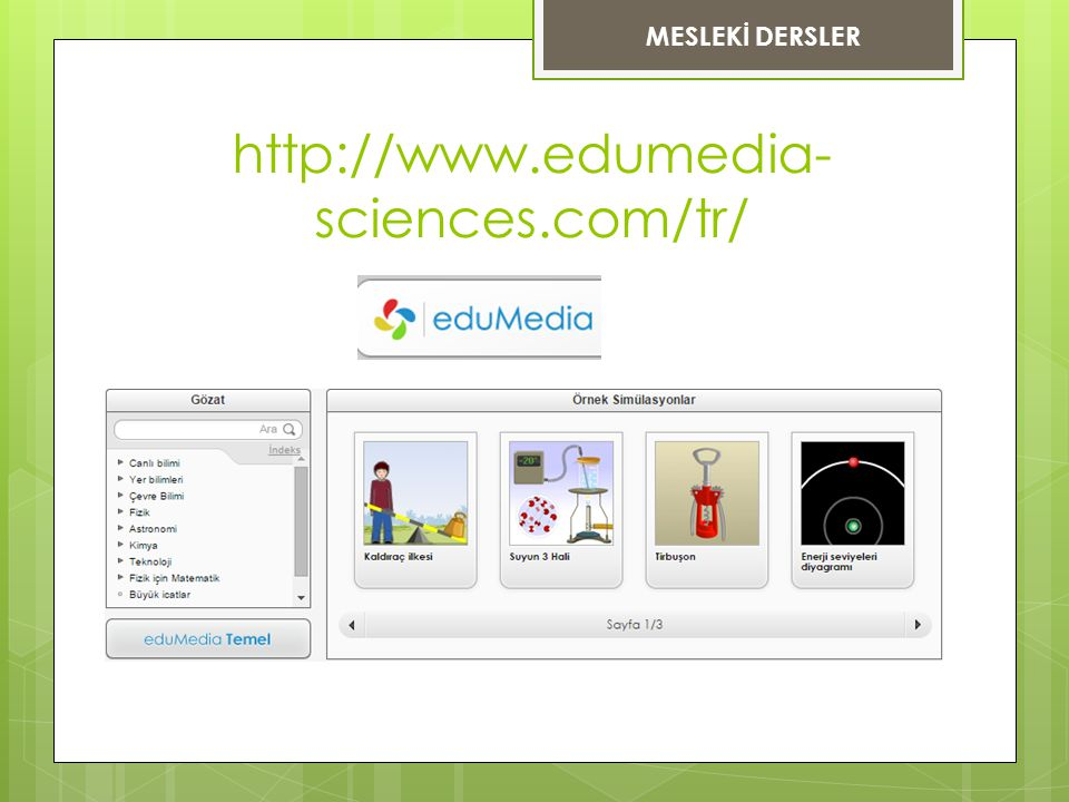 MESLEKİ DERSLER http://www.edumedia-sciences.com/tr/