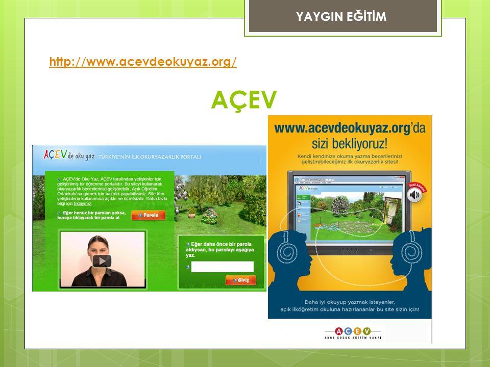 YAYGIN EĞİTİM http://www.acevdeokuyaz.org/ AÇEV
