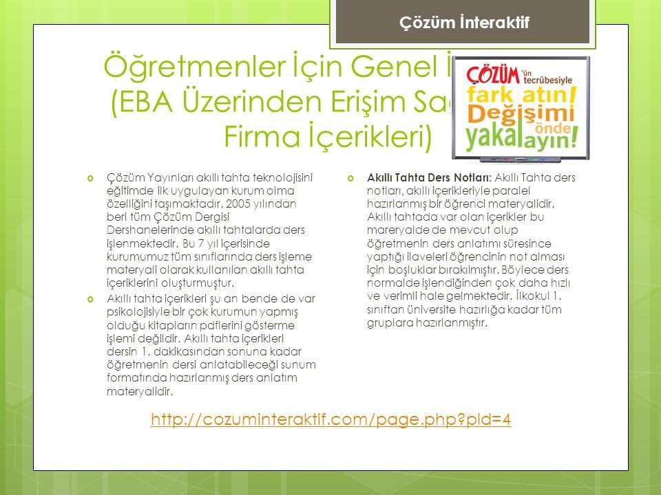 Çözüm İnteraktif Öğretmenler İçin Genel İçerikler (EBA Üzerinden Erişim Sağlanan Firma İçerikleri)