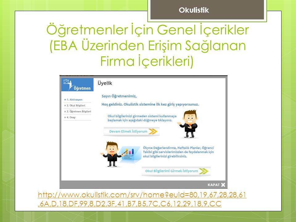 Okulistik Öğretmenler İçin Genel İçerikler (EBA Üzerinden Erişim Sağlanan Firma İçerikleri)