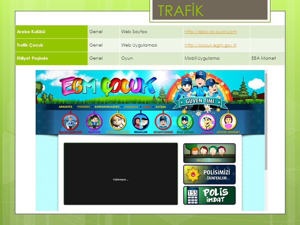 TRAFİK Araba Kulübü Genel Web Sayfası http://eba-ak.sucsr.com