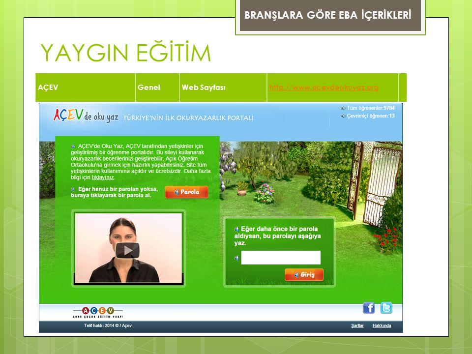 YAYGIN EĞİTİM BRANŞLARA GÖRE EBA İÇERİKLERİ AÇEV Genel Web Sayfası