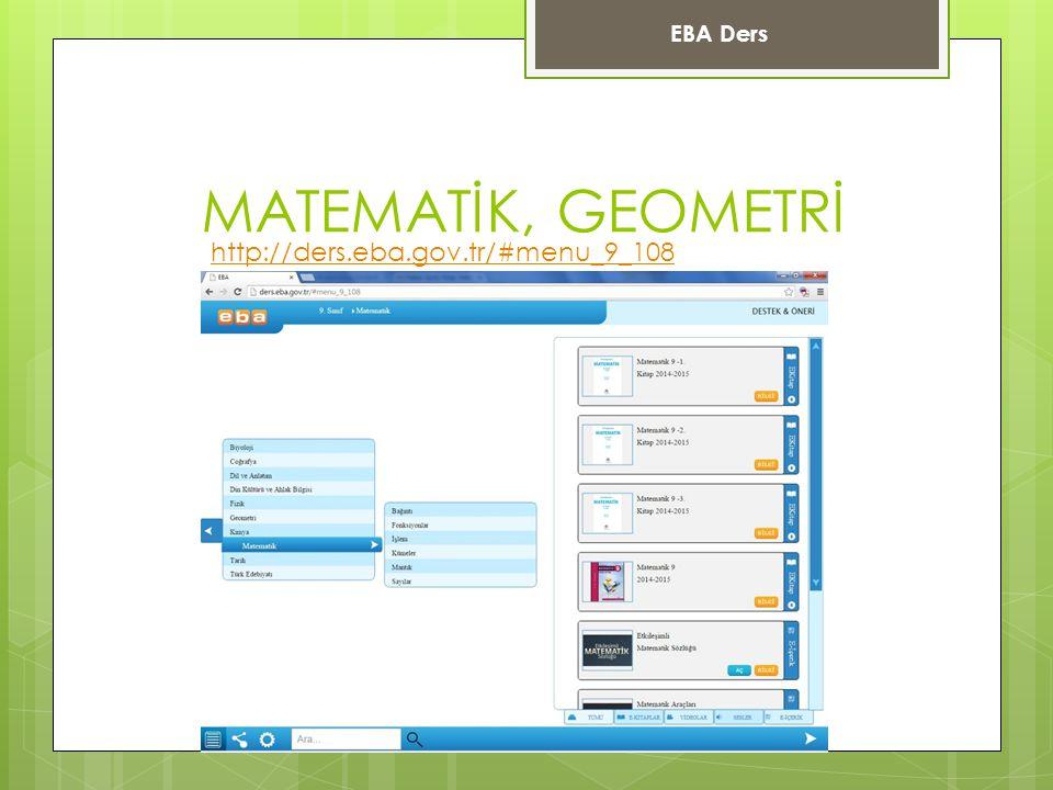 EBA Ders MATEMATİK, GEOMETRİ http://ders.eba.gov.tr/#menu_9_108