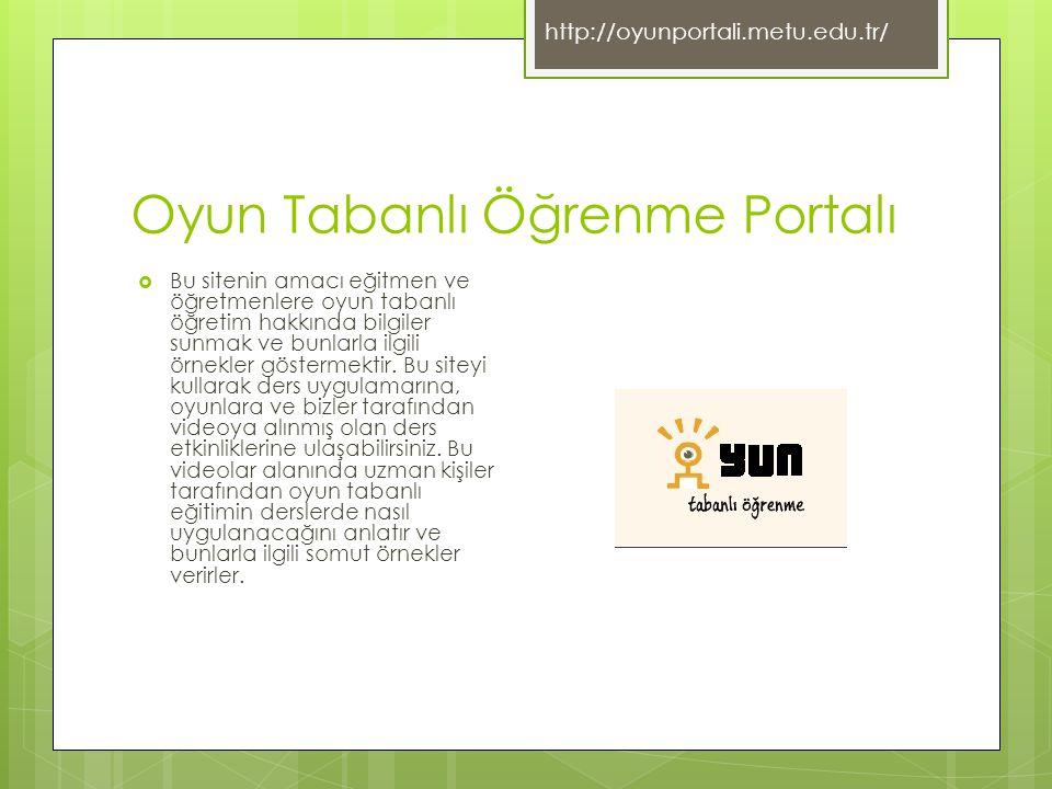 Oyun Tabanlı Öğrenme Portalı