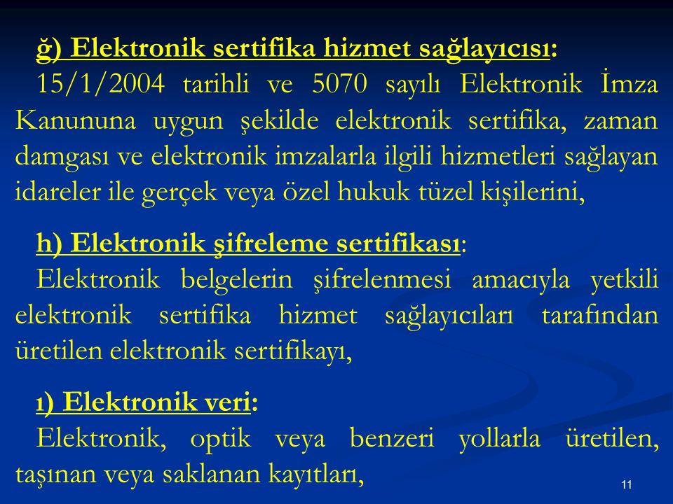 ğ) Elektronik sertifika hizmet sağlayıcısı: