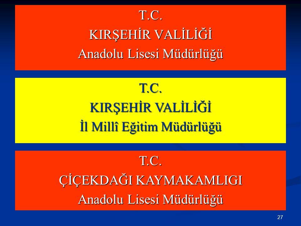 BaşlıkOkİlİlçe T.C. KIRŞEHİR VALİLİĞİ Anadolu Lisesi Müdürlüğü T.C.