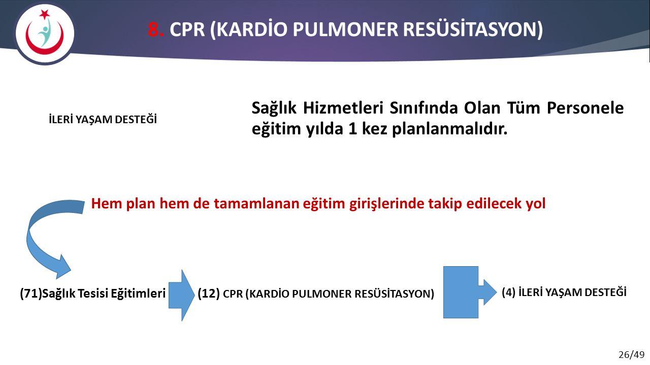 8. CPR (KARDİO PULMONER RESÜSİTASYON)