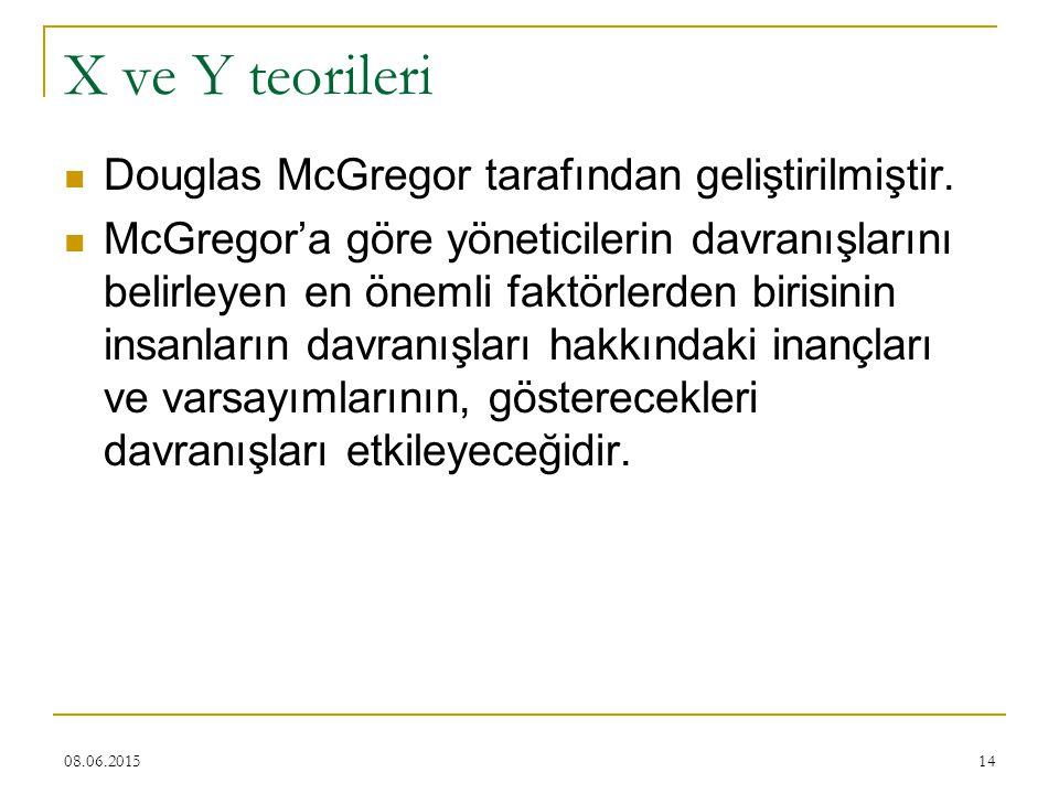 X ve Y teorileri Douglas McGregor tarafından geliştirilmiştir.