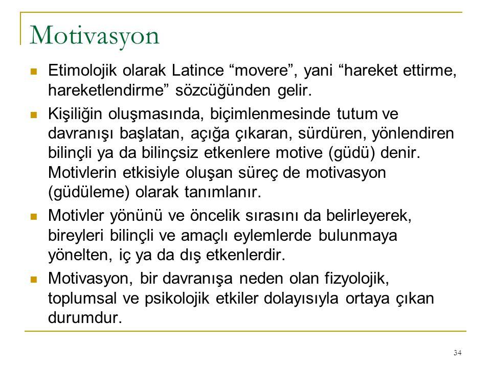 Motivasyon Etimolojik olarak Latince movere , yani hareket ettirme, hareketlendirme sözcüğünden gelir.