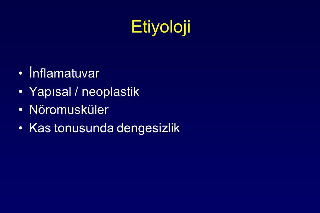 Etiyoloji İnflamatuvar Yapısal / neoplastik Nöromusküler