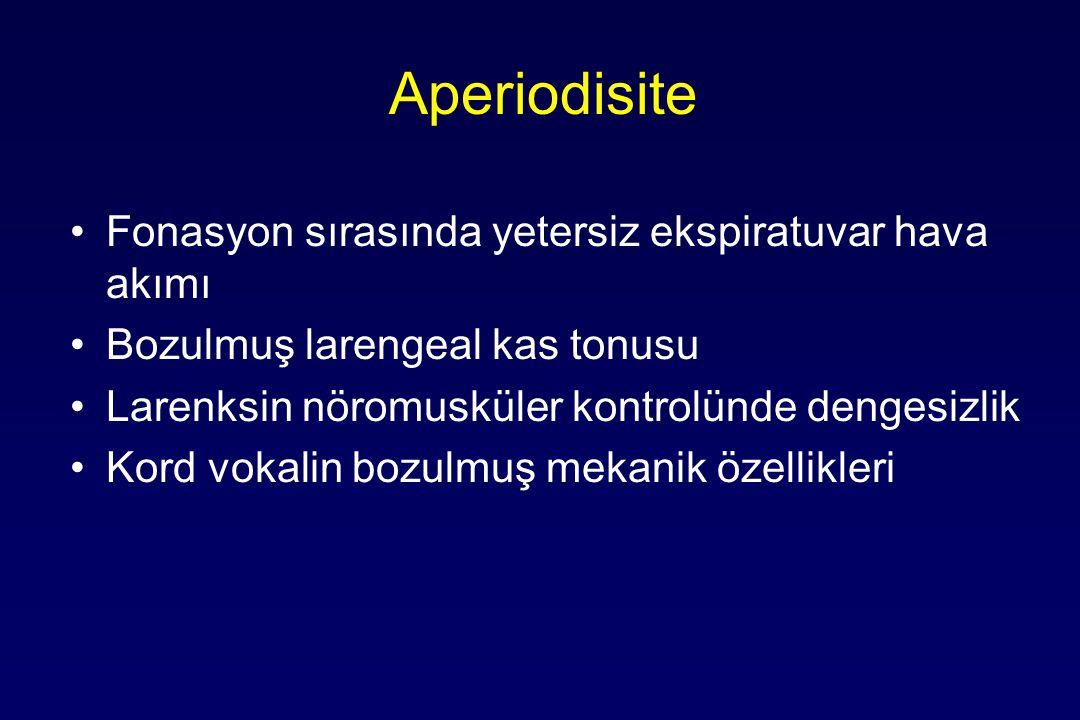 Aperiodisite Fonasyon sırasında yetersiz ekspiratuvar hava akımı