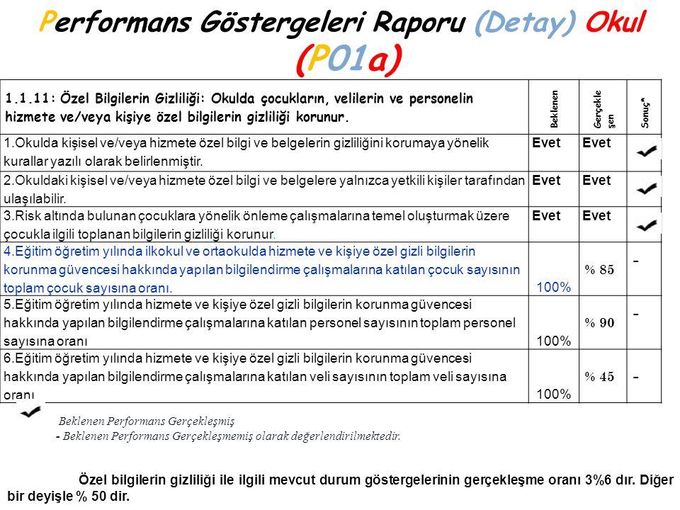 Performans Göstergeleri Raporu (Detay) Okul (P01a)