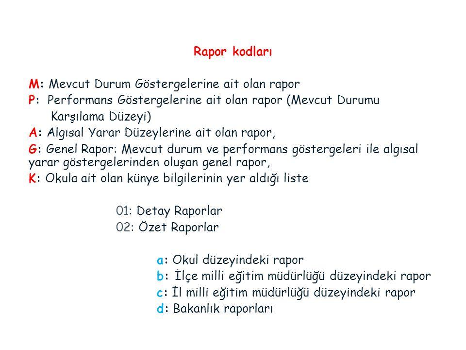 Rapor kodları M: Mevcut Durum Göstergelerine ait olan rapor. P: Performans Göstergelerine ait olan rapor (Mevcut Durumu.