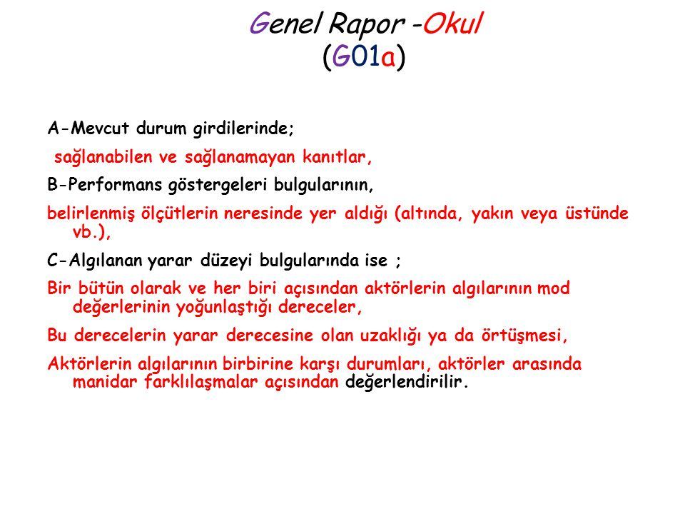 Genel Rapor -Okul (G01a)