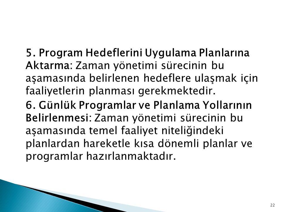 5. Program Hedeflerini Uygulama Planlarına Aktarma: Zaman yönetimi sürecinin bu aşamasında belirlenen hedeflere ulaşmak için faaliyetlerin planması gerekmektedir.