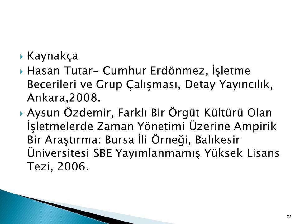 Kaynakça Hasan Tutar- Cumhur Erdönmez, İşletme Becerileri ve Grup Çalışması, Detay Yayıncılık, Ankara,2008.