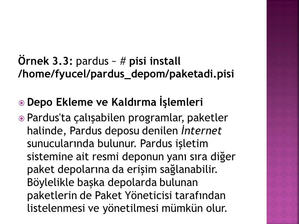 Örnek 3. 3: pardus ~ # pisi install /home/fyucel/pardus_depom/paketadi