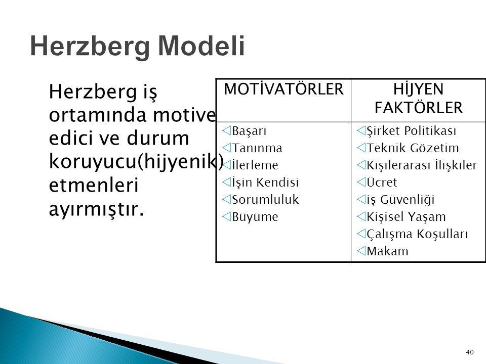 Herzberg Modeli Herzberg iş ortamında motive edici ve durum koruyucu(hijyenik) etmenleri ayırmıştır.