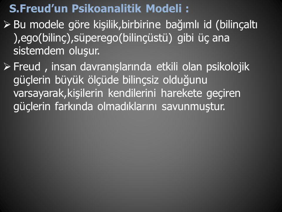 S.Freud'un Psikoanalitik Modeli :
