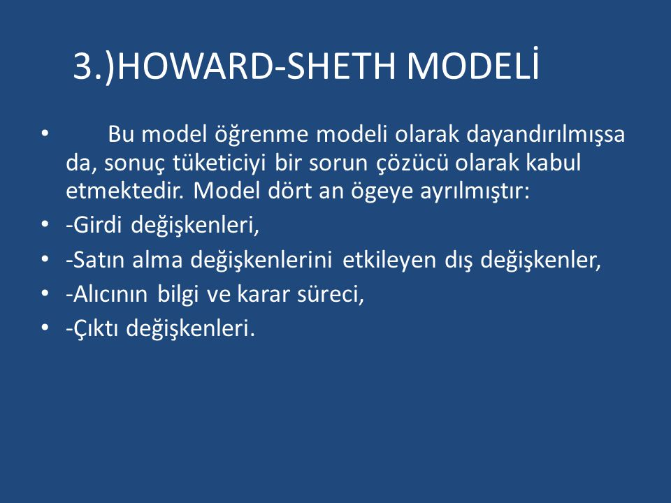 3.)HOWARD-SHETH MODELİ