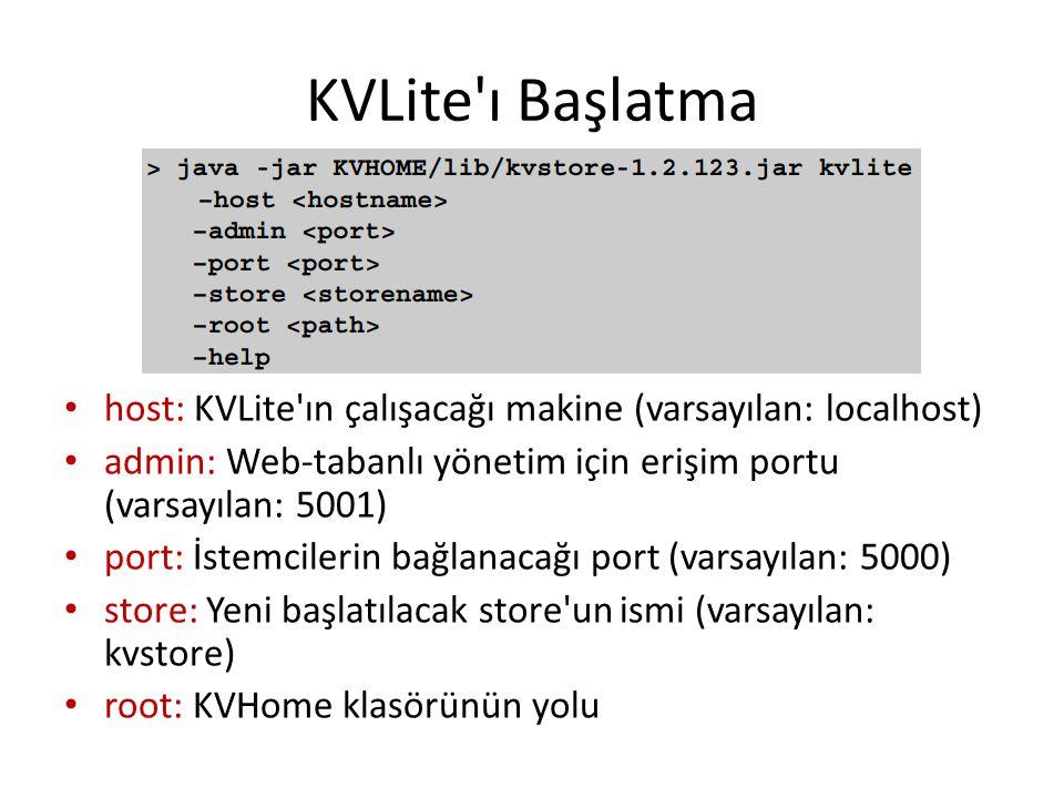 KVLite ı Başlatma host: KVLite ın çalışacağı makine (varsayılan: localhost) admin: Web-tabanlı yönetim için erişim portu (varsayılan: 5001)