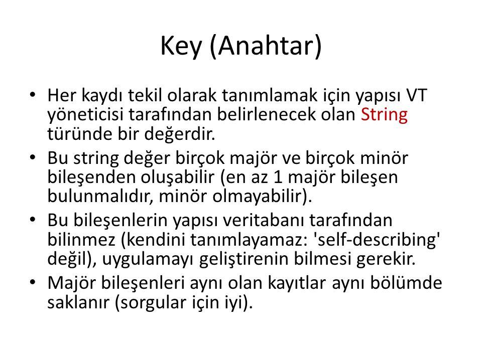 Key (Anahtar) Her kaydı tekil olarak tanımlamak için yapısı VT yöneticisi tarafından belirlenecek olan String türünde bir değerdir.
