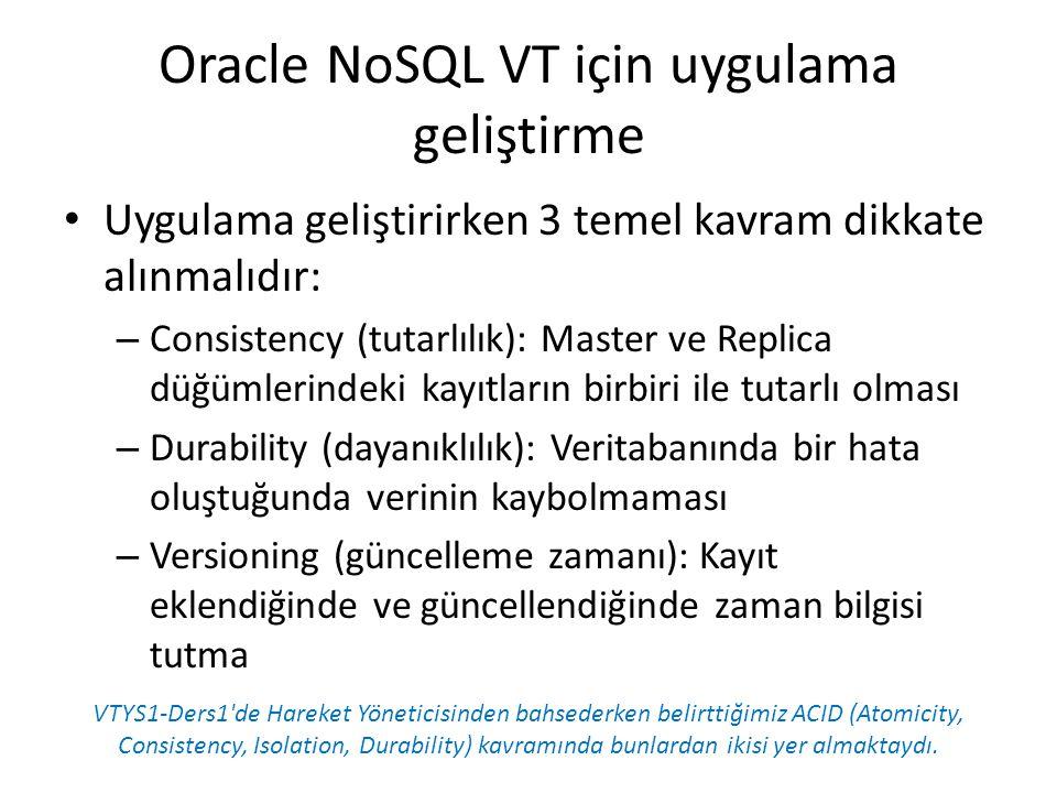 Oracle NoSQL VT için uygulama geliştirme