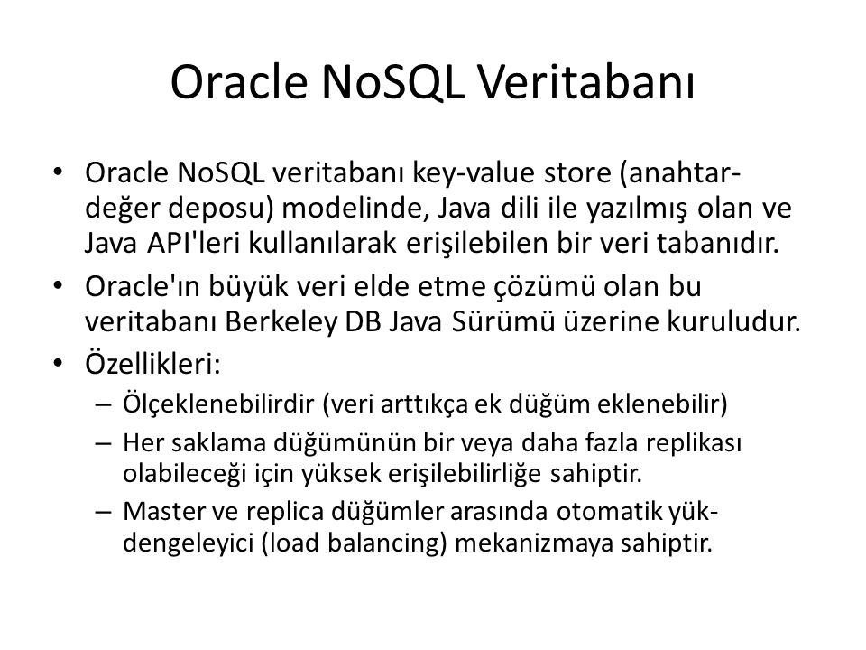 Oracle NoSQL Veritabanı