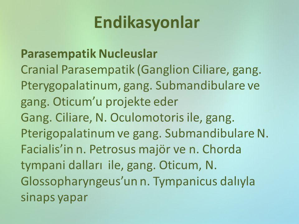 Endikasyonlar Parasempatik Nucleuslar