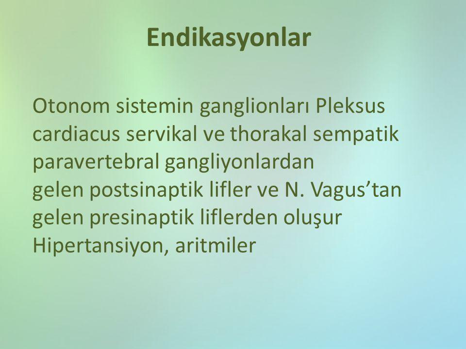 Endikasyonlar Otonom sistemin ganglionları Pleksus cardiacus servikal ve thorakal sempatik paravertebral gangliyonlardan.