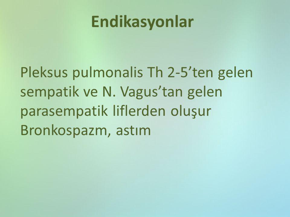 Endikasyonlar Pleksus pulmonalis Th 2-5'ten gelen sempatik ve N. Vagus'tan gelen parasempatik liflerden oluşur.