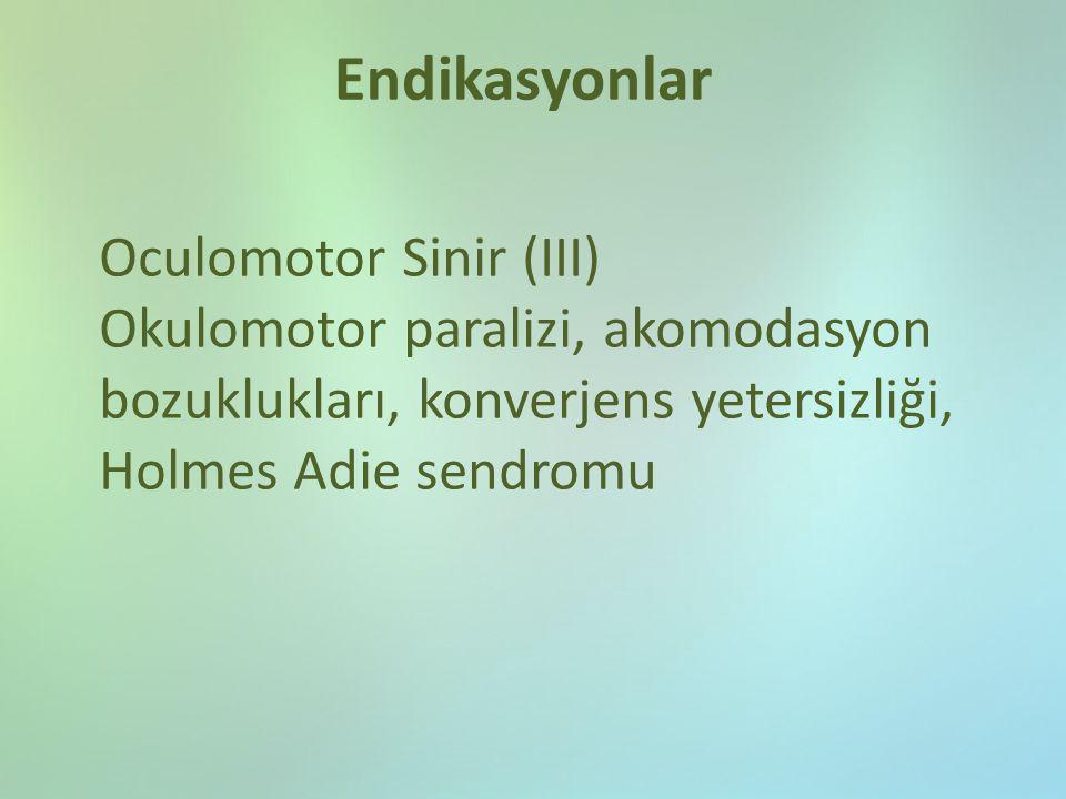 Endikasyonlar Oculomotor Sinir (III)