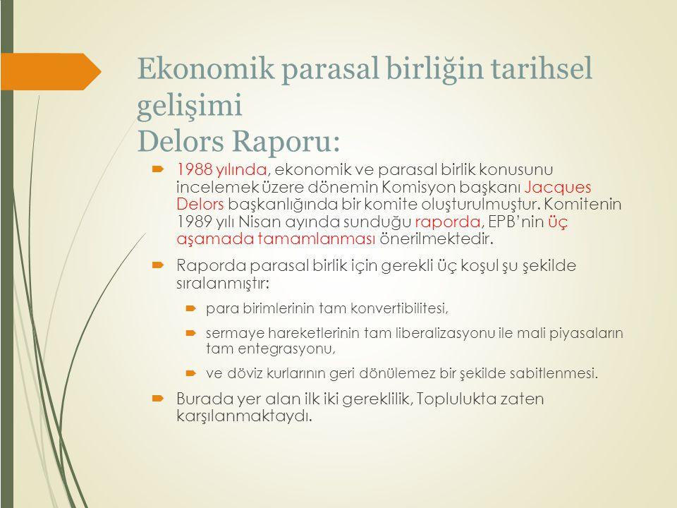 Ekonomik parasal birliğin tarihsel gelişimi Delors Raporu: