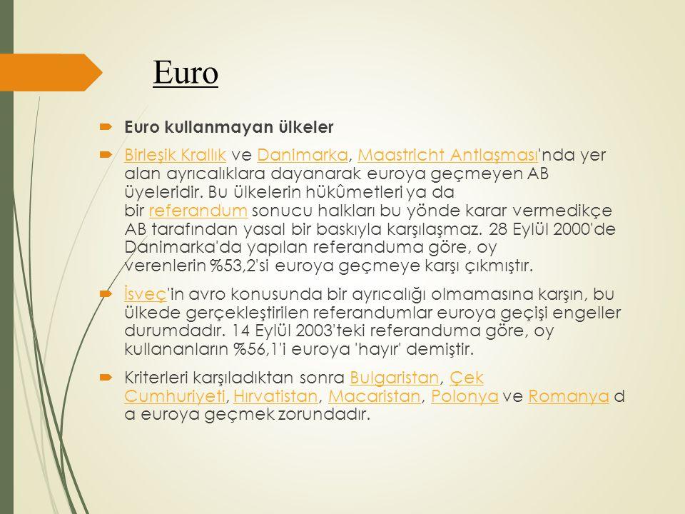 Euro Euro kullanmayan ülkeler