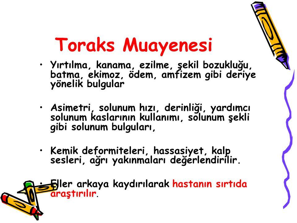 Toraks Muayenesi Yırtılma, kanama, ezilme, şekil bozukluğu, batma, ekimoz, ödem, amfizem gibi deriye yönelik bulgular.