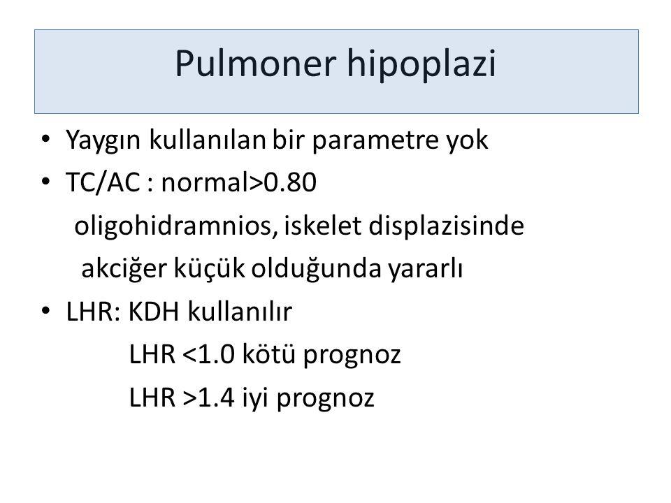 Pulmoner hipoplazi Yaygın kullanılan bir parametre yok