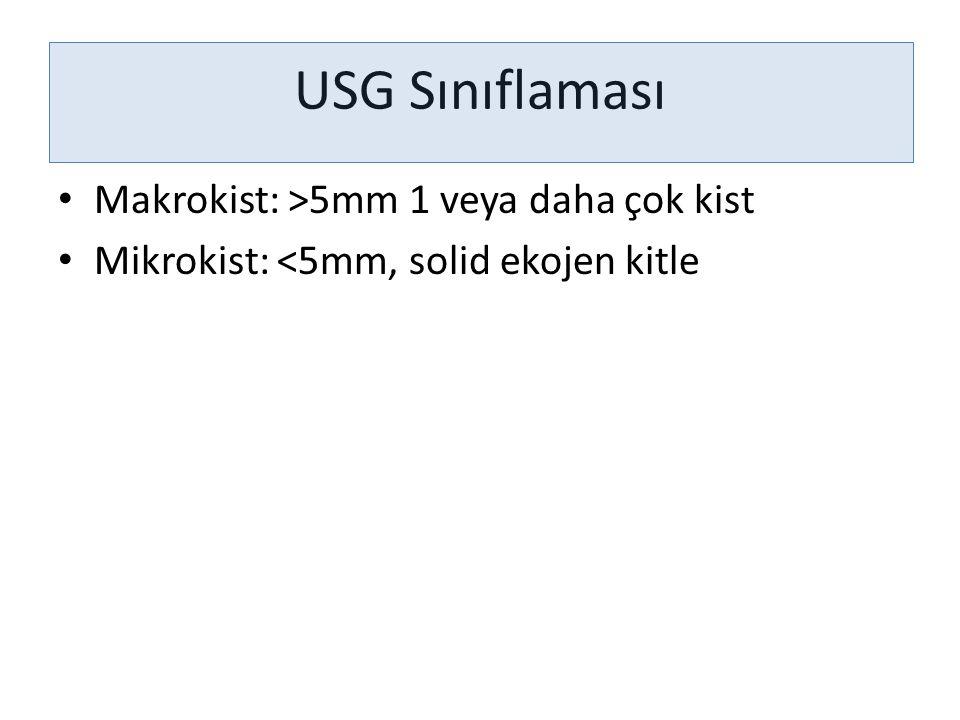 USG Sınıflaması Makrokist: >5mm 1 veya daha çok kist