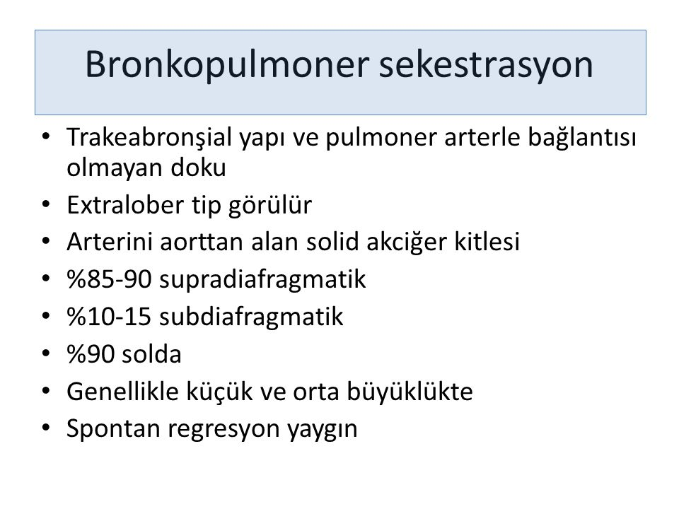 Bronkopulmoner sekestrasyon