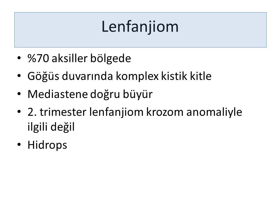 Lenfanjiom %70 aksiller bölgede Göğüs duvarında komplex kistik kitle
