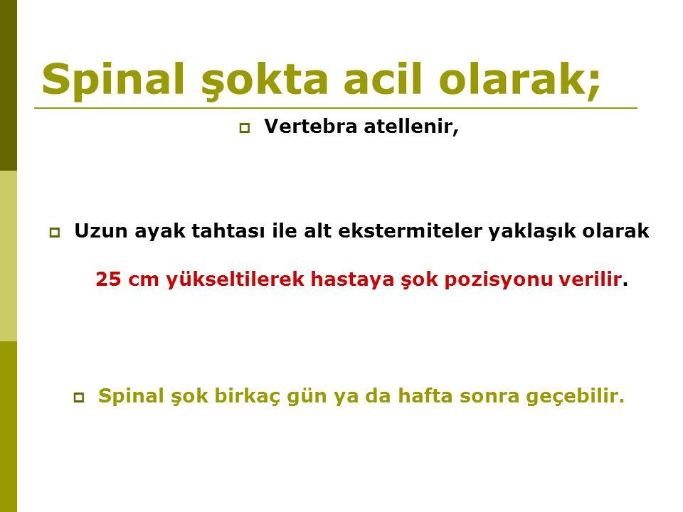 Spinal şokta acil olarak;