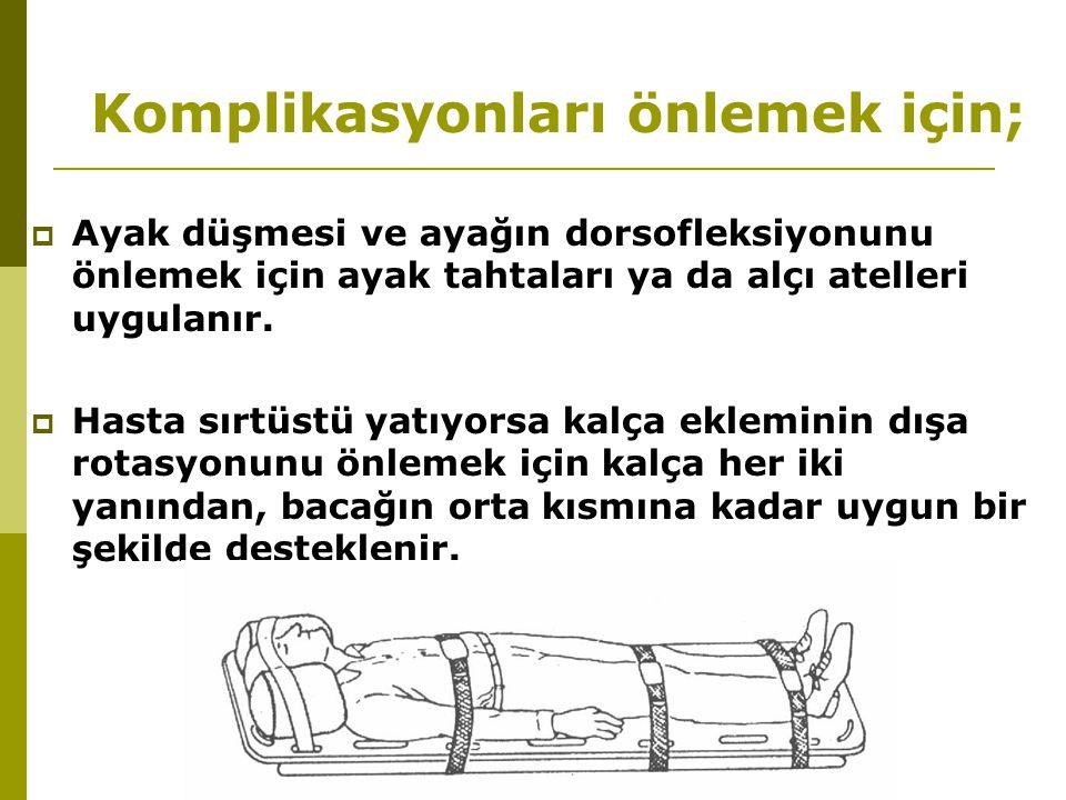 Komplikasyonları önlemek için;